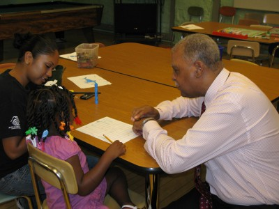 Dr. Thornton visits a summer school program last year